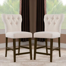 Effie Casual 2 Pcs Counter Height 25 H Dining Side Chair Beige Linen Tufted Back