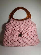 Vintage Pink Hand Crocheted Handbag Purse Lined With 2 Pockets Plastic Handles