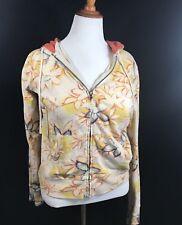 Lucky Brand Womens Zipper Zip Zippered Hoodie, Floral Design, Size Large