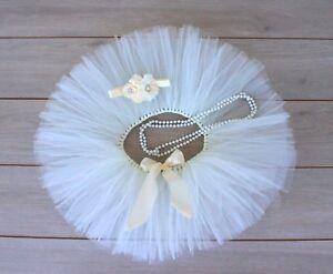 Cake Smash Outfit - Cream Ivory First Birthday Tutu Set - Baby Girl