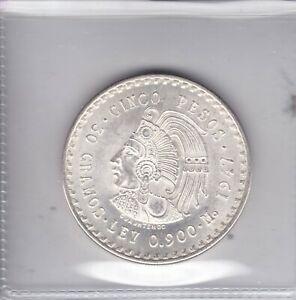 1947 Mo Mexico 5 Pesos Silver Cuauhtemoc 30 Gramos Ley .900 Cinco Pesos    CH BU