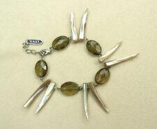 East Bracelet Sharks Tooth Shell & Green Acrylic Bead Adjustable Length