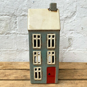 Tall Grey Village Pottery Ceramic Cottage House Tea Light Candle Holder Ornament