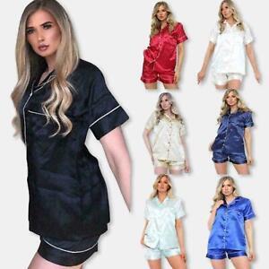 Women Satin Pyjamas PJs Nightwear Set Ladies Silk Short Sleeve Button Sleepwear