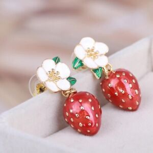 Signed Kate Spade Picnic Perfect Strawberry Blossom Flower Earrings