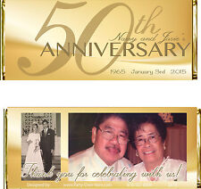 50th Wedding Anniversary Golden Gold PERSONALIZED Candy Wrapper Favors -20 pc