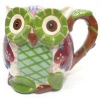 3D OLLI THE OWL COFFEE CUP MUG HAND PAINTED DOLOMITE PIER 1 IMPORTS GREEN TAN