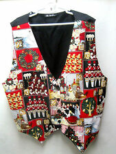 UGLY CHRISTMAS PARTY SNOWMAN VEST SILK BUTTON LARGE WOMENS BLACK