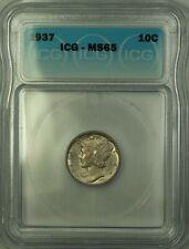 1937 Silver Mercury Dime 10c Coin ICG MS-65 Toned Gem BU