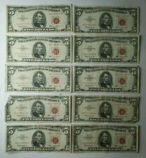 Lot of 10 1963 $5 Red Seal United States Notes