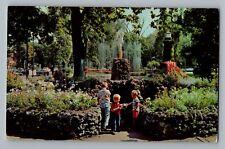 Sandusky Ohio OH Boy & Boot Fountain Washington Park Curt Teich Postcard 1958