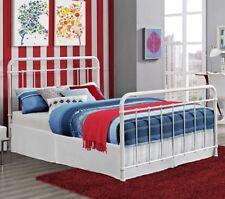 Full Antique Style White Metal Beds Bed Frame Frames Bedroom Furniture Sturdy