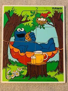 VINTAGE Playskool Cookie Monster Wooden Tray Puzzle, 9 pcs., Sesame Street