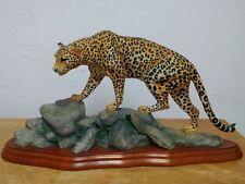 Leopard On Rocks Figurine Wild World By Enesco On Wooden Plinth 18cm High