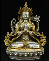 Old Tibet Silver Gilt 4 Arms Chenrezig Goddess Buddha Avalokiteshvara God Statue