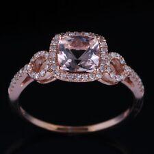 Love Present !14K Rose Gold Natrual Morganite Diamonds Engagement Wedding Ring
