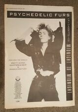 Psychdelic furs midnight to  1987 press advert Full page 30 x 42 cm mini poster