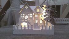 WHITE WOODEN PRE-LIT WARM WHITE LED VILLAGE NATIVITY SCENE CHRISTMAS DECORATION