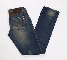 Met jeans donna slim strappi w27 tg 40 41 vita bassa blu usati straight T2606