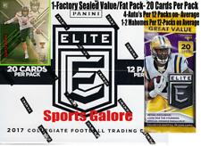 2017 Panini Elite Draft Picks Football (1) Value/Fat Pack 20 Cards Per Pack