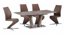 Geneva Modern Extedning Oak Effect Stainless Steel Base Dining Table Furniture