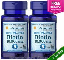 2 X Puritan's Pride  Biotin 10,000 mcg 100 Softgels Skin Hair Nail FREE SHIPPING