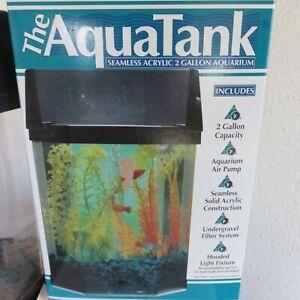Aquarium 2 Gallon Seamless Acrylic With Pump & Light