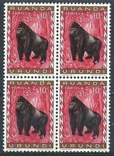 Ruanda 1959 Sc# 137 Gorilla monkey Belgian East Africa block 4 MNH