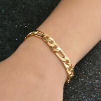 18K Yellow Gold Filled Mens Flat Snake Bracelet Chain Bangle Jewelry For MEN