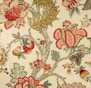 P Kaufmann MALAWI Jacobean Floral KHAKI Drapery Upholstery Sewing Fabric BTY