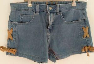 P.T.F Jeans Ladies Denim Mini Shorts Blue Sz 30 / 12 Stretch Side Ribbon Tie-Up