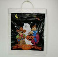 "Vintage Happy Halloween Trick or Treat Plastic Bag 16.5"" x 14"" by Interplast 90s"