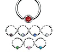 New Captive Bead Ring with Gem 1.2mm x 10mm Hoop Cartilage Piercing 4mm Ball