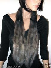 COLLO VISONE Pelliccia grigio argentato sciarpa lunga argento mink fur E0522 56