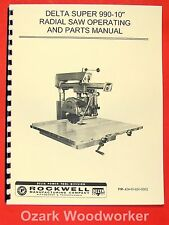 ROCKWELL/Delta Super Radial Arm Saw 990-10 & 990 Operator's & Parts Manual 0631