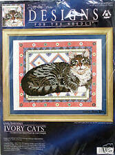 "#5603 IVORY CATS ""GEMMA ON A DHURRIE"" CAT, KITTEN CROSS STITCH KIT - nip!"