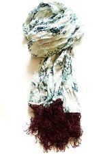 Ladies Vintage Large H&M Scarf Antique White Blue & Deep Red Shawl Wrap Scarves