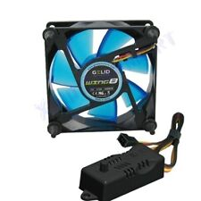 VENTOLA x CASE PC 80mm GELID WING 8 BLU FAN 80 x 25 UV REACTIVE + REGOLATORE RPM