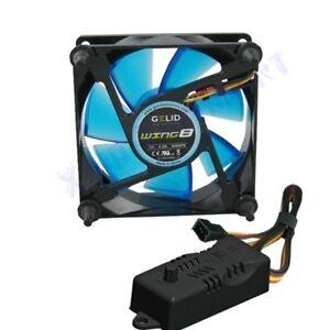 VENTOLA x CASE PC 80mm GELID WING 8 BLU FAN 80 x 25 UV REACTIVE + REGOLATORE RPM