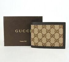 Gucci Men's Beige Original GG Canvas Bi-fold Wallet w/leather Trim 278596 9903