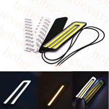2X Car SUV White+Yellow COB LED Daylight Bulb Turning LAMP Daytime Running Light
