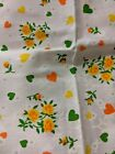 Vtg Fabric Novelty print hearts flowers bright bold 60's  quilting  2 3/5 yards