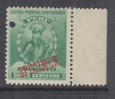 PERU, 1897 Pizarro 5c. Green, ABN Punched Proof, SPECIMEN in Red, mnh.