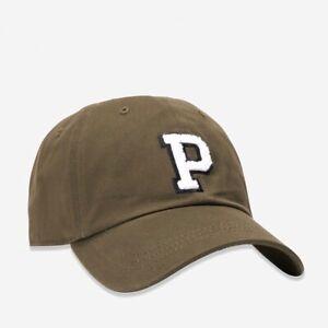 Victoria's Secret Pink Large White P Logo Army Green Baseball Cap Hat Adjustable