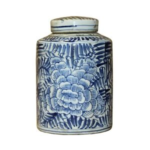 Chinese Blue White Ceramic Abstract Flower Graphic Container Urn Jar ws841