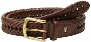 $55 Tommy Hilfiger Men's Brown Leather Dress Woven Braided Harness Belt Size 32