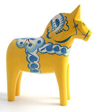 "NEW! Grannas A. Olsson 5"" (13cm) Yellow & Blue Dala Horse Swedish Wood Carving"