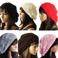 Stylish Women's Lady Beret Braided Baggy Beanie Crochet Hat Ski Knitted Cap Well