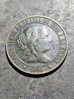 1866 Spain 2 1/2 Centimos Coin