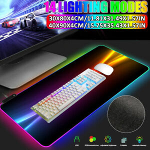 14 Lighting Mode USB LED Gaming Mouse Keyboard Pad RGB Glowing Mat Computer Mat